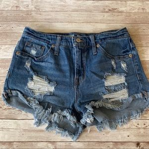 Mossimo High Rise Distressed Jean Denim Shorts